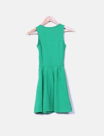 Vestido verde escote redondo