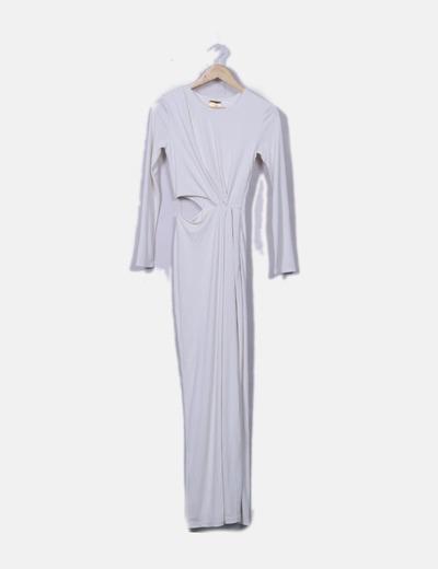 Vestido blanco largo con abertura