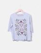 Camiseta gris bordado floral Stradivarius