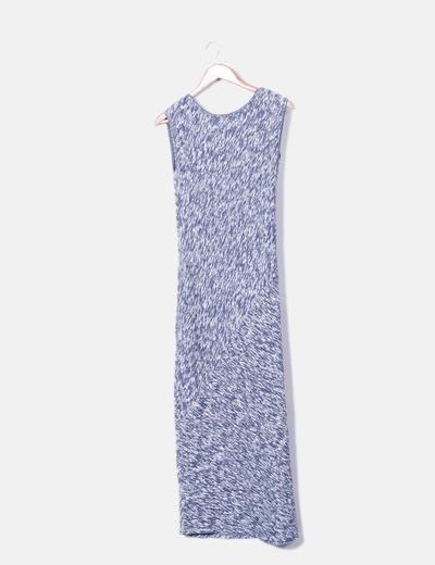 Vestido de punto azul jaspeado sin mangas