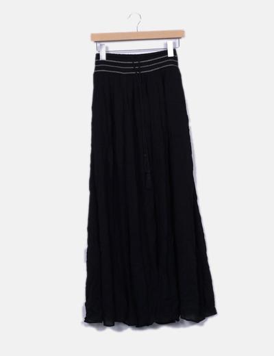 Schwarzer Maxirock bestickt Zara