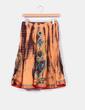 Falda naranja y marrón con lentejuelas azules Zara