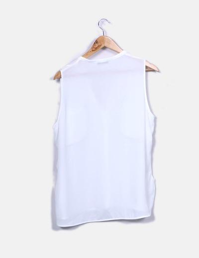 Blusa blanca manga sisa con bolsillos