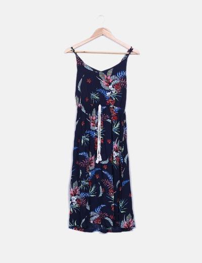 Vestido azul marino print con crochet NoName