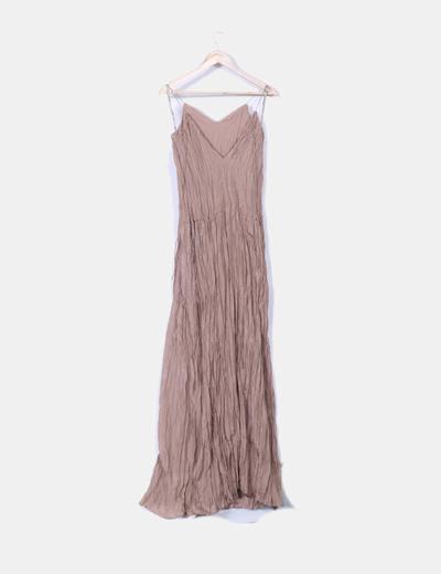 Maxi vestido marron texturizado