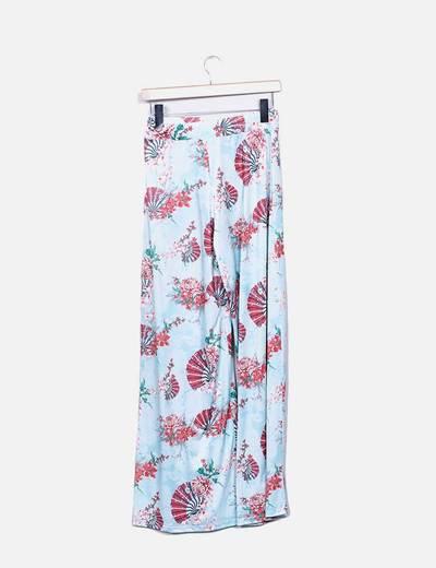 Pantalon palazzo floral turquesa