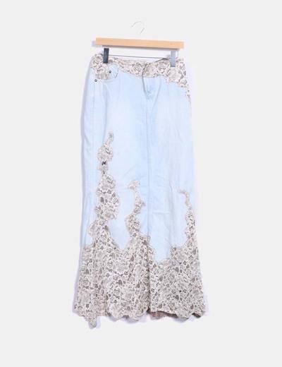 Maxi falda denim combinada con encaje Lili Nucci