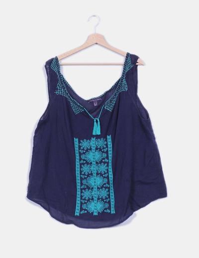 671a8f82a5 Mango Blusa azul marino bordada (descuento 70%) - Micolet