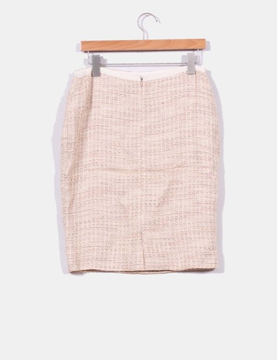 Conjunto de blazer y falda en tweed beige con brillos