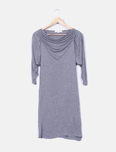 Robe grise à manches drapées Vanessa Bruno