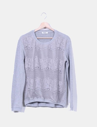 Jersey gris con encaje