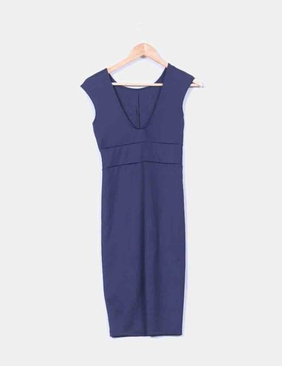 Vestido azul marino detalle pedreria