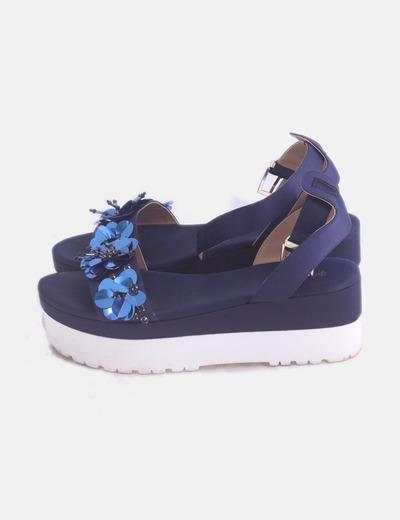 Sandalia azul marino flores de paillettes