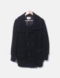Abrigo negro de paño con doble botonadura Stradivarius