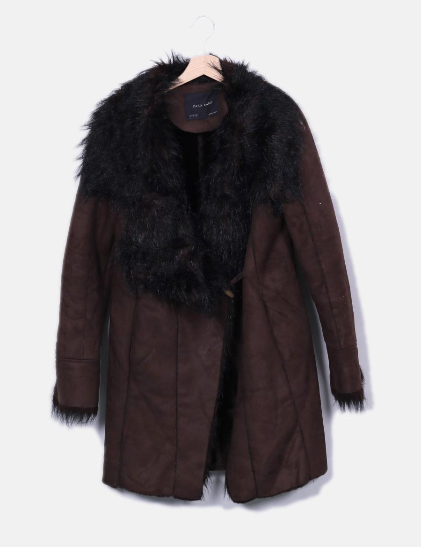 Abrigos De Online Chaquetas Baratos Mujer Pelo Marrón Y Abrigo Zara 6np6B8RF