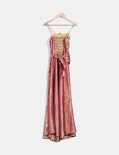 Maxi vestido rosa y mostaza satinado con abalorios