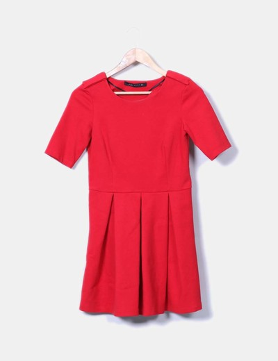 Vestido rojo manga corta