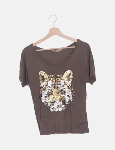 Camiseta marrón lentejuelas manga corta