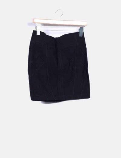 Falda mini negra con cremallera NoName