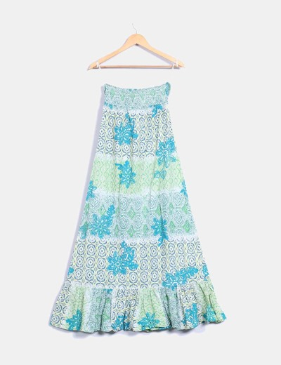 Maxi vestido estampado en tonos verdes