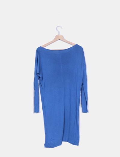 Vestido de punto azul petroleo