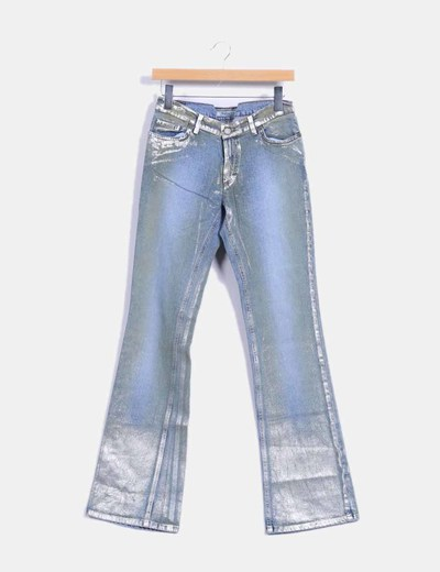 Pantalon denim recto metalizado