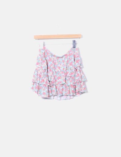 Falda vuelo print floral Zara