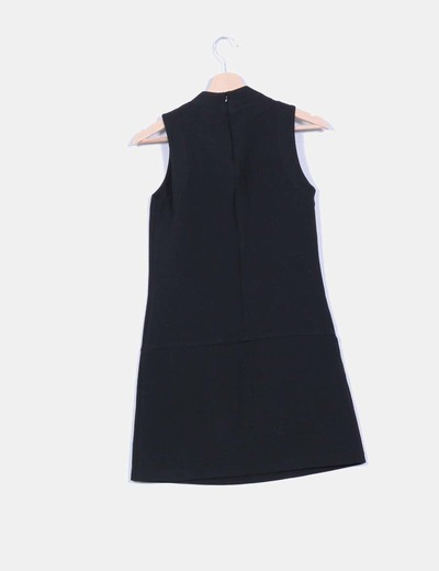Vestido midi negro sin mangas detalle cremalleras