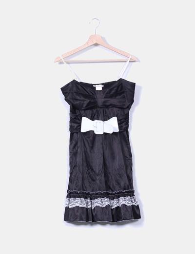 Vestido negro satinado Nana Baila