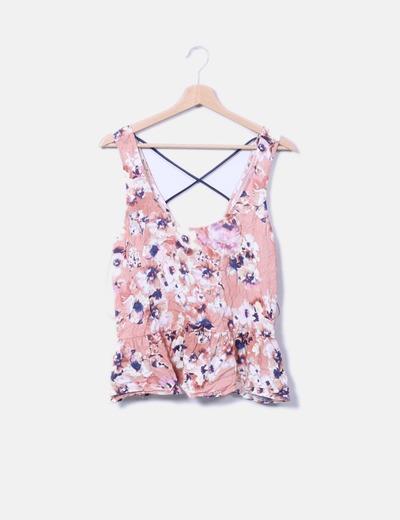 Camiseta floral escote espalda Pull&Bear