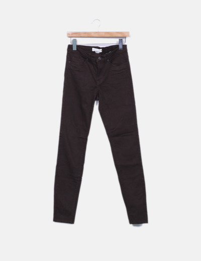 Pantalon pitillo marron H&M