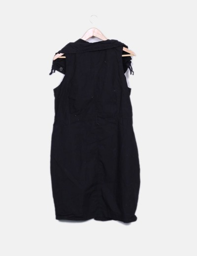 Vestido safari negro con bolsillos