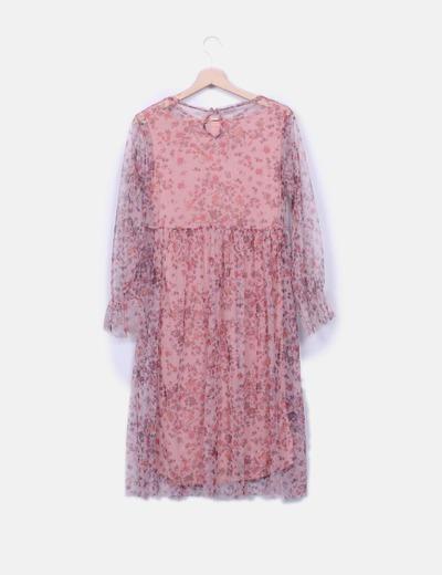 Zara descuento Micolet Floral Vestido Tul Rosa 71 raWHrfB7