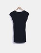 Camiseta negra larga print plateado Bershka
