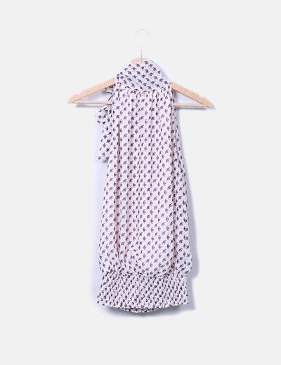 Blusa de gasa abombada cuello lazo