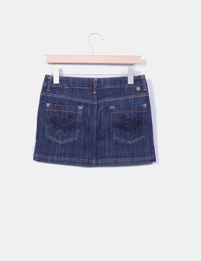 Mini falda denim con strass
