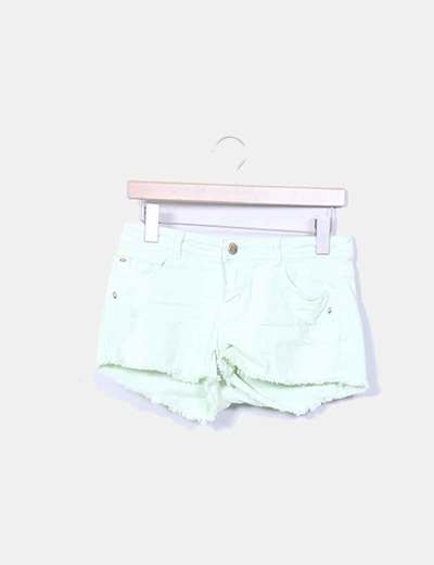 Short denim verde mint con rotos Lefties