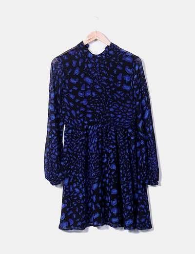 vestido negro estampado azul klein NA-KD