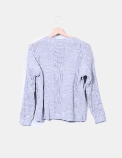 Jersey tricot gris lazo perlas