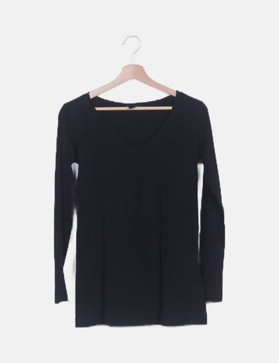 Camiseta negra básica manga larga