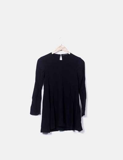 Vestido manga larga fluido negro