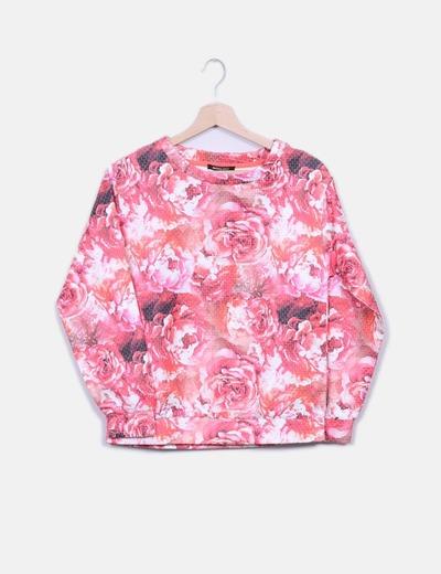 Sudadera floral rosa combinada Suiteblanco