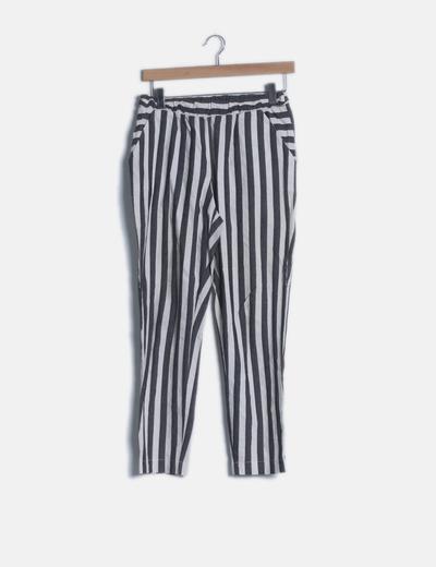 Pantalón baggy rayas gris