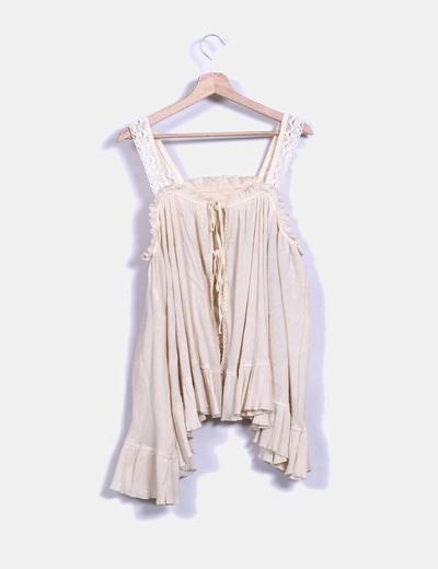 Blusa vintage oversize beige