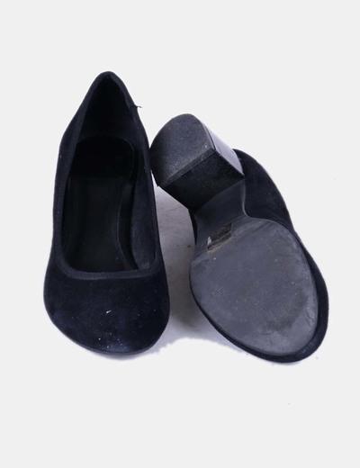 Zapato antelina salon ante negro