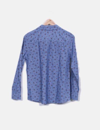 Camisa denim estampado floral