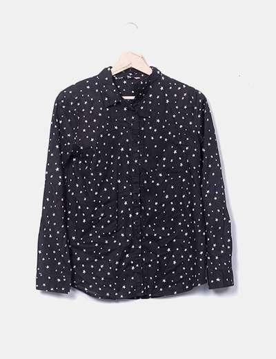 Estrelas estampada de camisa preta OVS
