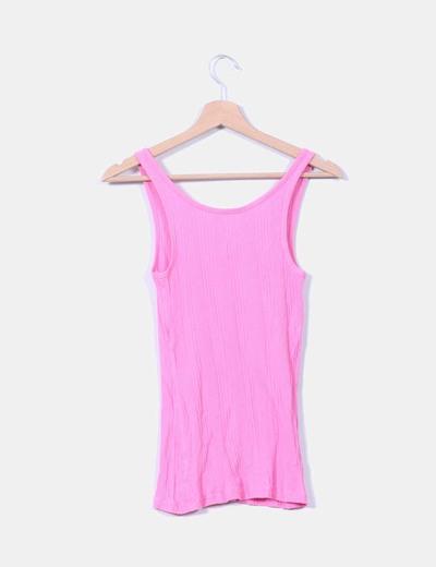 bbbbda3531eac Primark Camiseta tirantes rosa canalé (descuento 83%) - Micolet