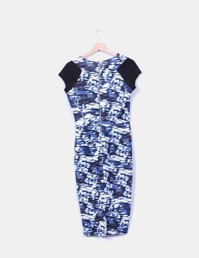 Maxi vestido estampado en tonos azules