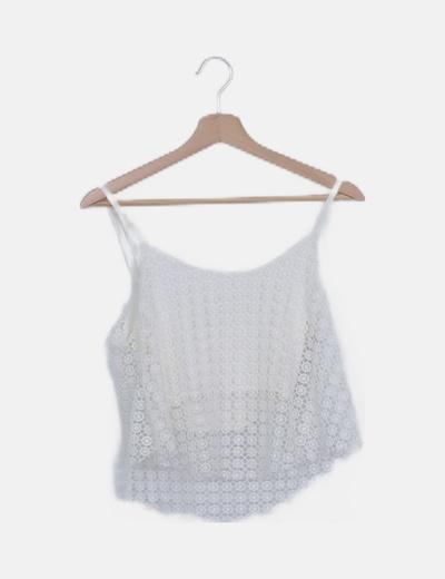 Crop top blanco crochet